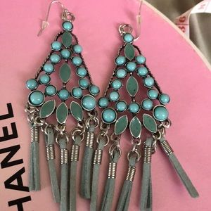 Turquoise Earrings With Leather Tassels